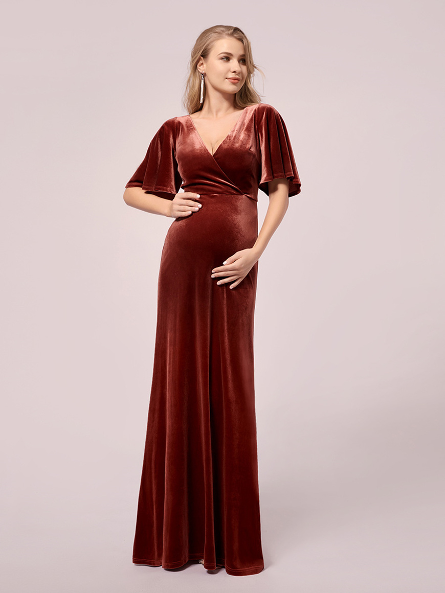 Flare-Sleeves-Maternity-Dress