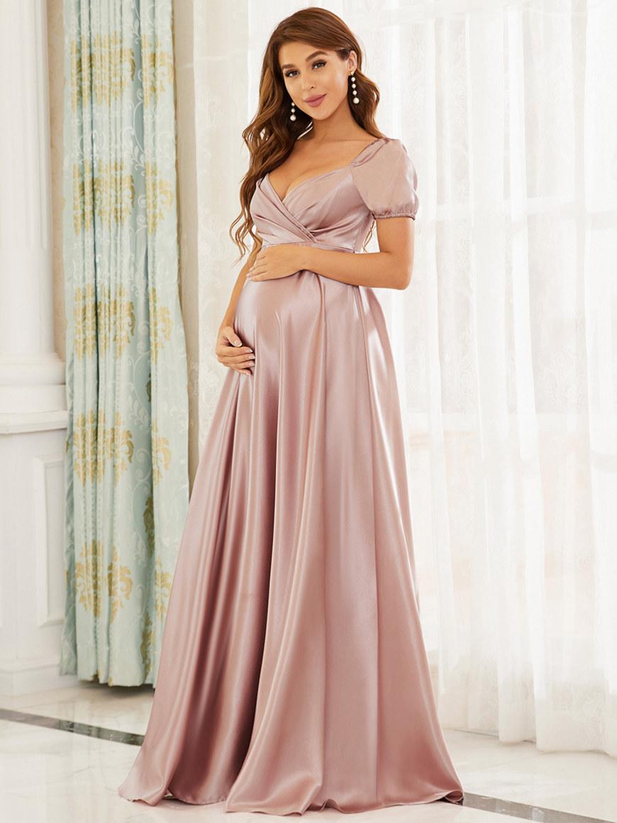 V-Neck-Floor-Length-Elegant-Short-Sleeves-Maternity-Dress